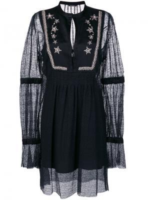 Многослойное платье с цветочной отделкой Wandering. Цвет: чёрный