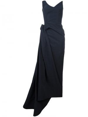 Длинное платье без бретелей Maticevski. Цвет: синий