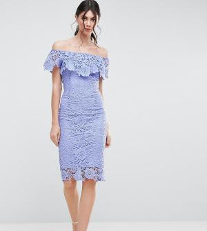 Paper Dolls Tall Кружевное платье-футляр с оборками и вырезом лодочкой. Цвет: синий