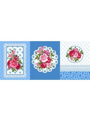 Набор из трех полотенец (45х60) Медальон Традиция. Цвет: лазурный, голубой, розовый, белый