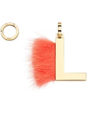 Подвеска в виде буквы L Fendi. Цвет: жёлтый и оранжевый