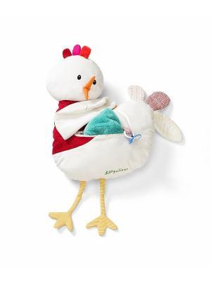 Курочка Офелия: мягкая игрушка-подушка Lilliputiens. Цвет: белый, розовый, желтый