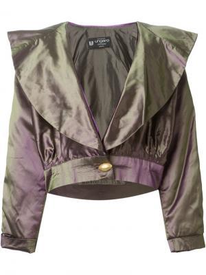 Укороченная куртка с эффектом металлик Emanuel Ungaro Vintage. Цвет: металлический