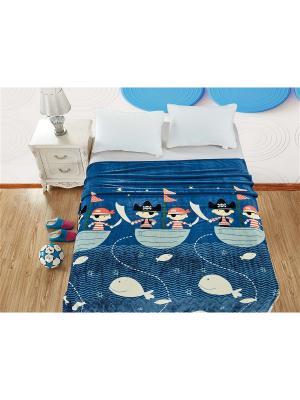 Плед велсофт,1,5-спальный Dream time. Цвет: синий, белый, голубой