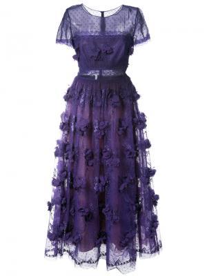 Вечернее платье с цветами Marchesa Notte. Цвет: розовый и фиолетовый