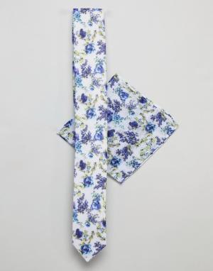ASOS Комплект из галстука и платка для нагрудного кармана с цветочным принт. Цвет: синий