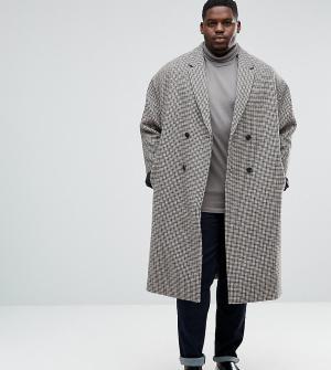 ASOS Полушерстяное пальто в ломаную клетку с заниженной линией плеч PL. Цвет: коричневый