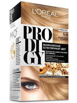 Краска для волос Prodigy без аммиака, оттенок 8.0, Белый Песок L'Oreal Paris. Цвет: бежевый