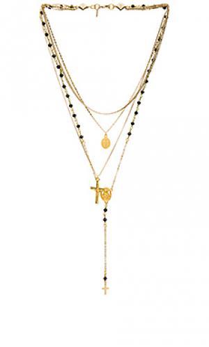 Ожерелье-четки chain & stone Vanessa Mooney. Цвет: металлический золотой