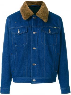 Джинсовая куртка с меховым воротником Ami Alexandre Mattiussi. Цвет: синий