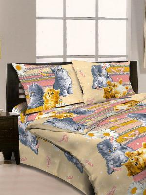 Комплект постельного белья Letto. Цвет: розовый, серо-голубой