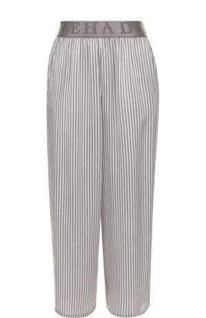 Укороченные брюки прямого кроя в полоску Deha. Цвет: серый