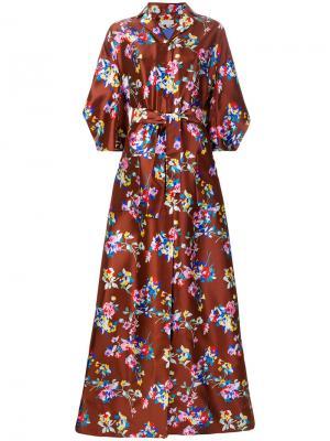 Длинное платье с цветочным узором Delpozo. Цвет: коричневый