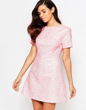 Lashes of London Жаккардовое цельнокройное платье Lolly. Цвет: розовый