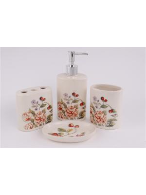 Набор для ванной комнаты 4 предмета: дозатор, подставка под зубные щетки, стакан, мыльница PATRICIA. Цвет: красный, бежевый