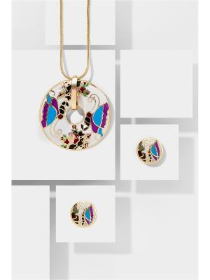 Набор украшений Папиллон Вайт: цепочка с кулоном и серьги Nothing but Love. Цвет: синий, белый, фиолетовый