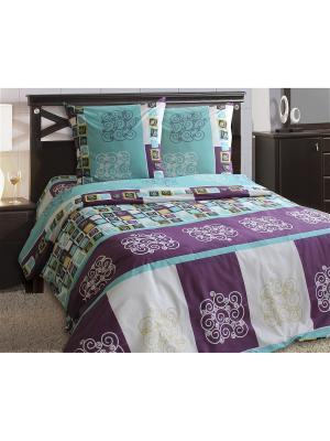 Комплект постельного белья Блакiт. Цвет: фиолетовый, белый