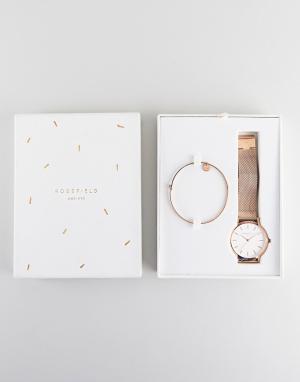 Rosefield Подарочный набор с часами 38 мм и браслетом Mercer. Цвет: золотой