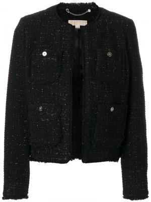 Классический твидовый пиджак Michael Kors. Цвет: чёрный