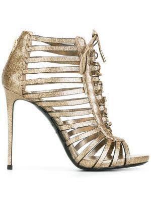 Босоножки со шнуровкой Le Silla. Цвет: металлический