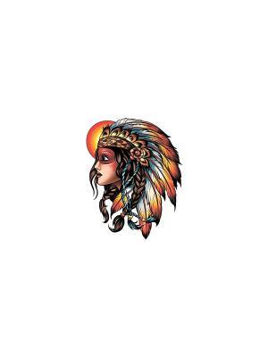 Временная переводная татуировка Индеец МнеТату. Цвет: голубой, сиреневый, фиолетовый, красный, желтый, черный, синий, зеленый, морская волна