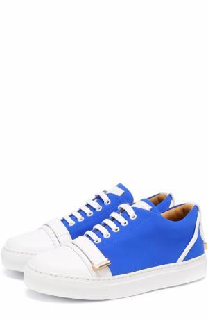 Комбинированные кеды на шнуровке Buscemi. Цвет: синий