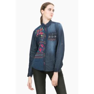 Рубашка из денима с длинными рукавами и принтом, Cam Lilith DESIGUAL. Цвет: светлый деним
