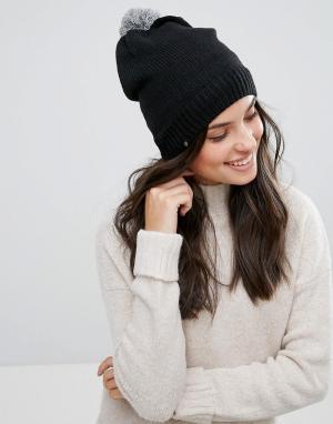 Plush Черная шапка-бини с флисовой подкладкой и серым меланжевым помпоном Pl. Цвет: черный