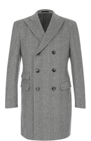 Двубортное шерстяное пальто с остроконечными лацканами Z Zegna. Цвет: светло-серый