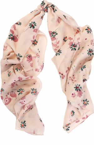 Шелковая шаль с принтом Valentino. Цвет: светло-розовый