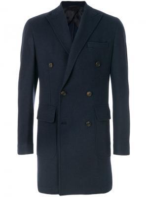 Двубортное пальто Hackett. Цвет: синий