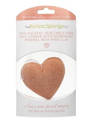 Воздушный спонж-сердечко для лица (с розовой глиной) The Konjac Sponge Company. Цвет: розовый