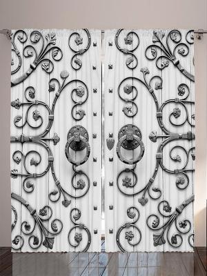 Плотные фотошторы Двери к счастью, 290*265 см Magic Lady. Цвет: белый, серебристый
