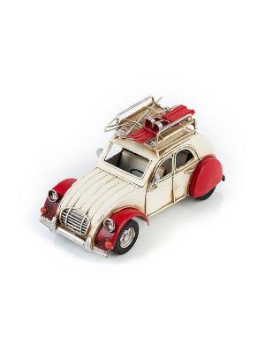 Модель Ретро Автомобиль белый с красным, фоторамкой 4х5см PLATINUM quality. Цвет: белый, красный