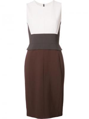 Приталенное платье дизайна колор-блок Narciso Rodriguez. Цвет: коричневый