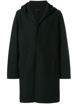 Классическое пальто с капюшоном Hevo. Цвет: чёрный