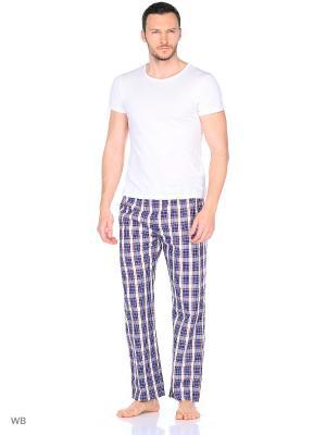 Домашние брюки YC COTTON. Цвет: синий, красный