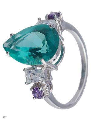 Кольцо Митра Ювелир. Цвет: бирюзовый, серебристый, фиолетовый