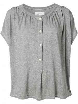 Блуза  с воротником хенли The Great. Цвет: серый