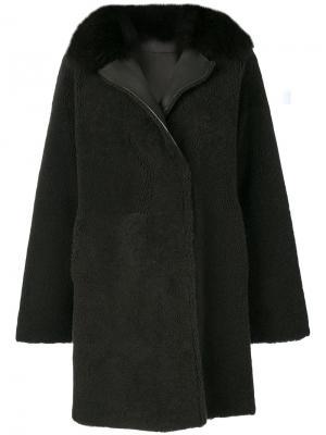 Vintage fur trim coat Guy Laroche. Цвет: зелёный