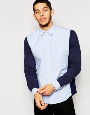 Izzue Рубашка колор блок с трикотажными рукавами. Цвет: синий