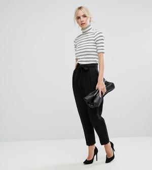 ASOS Petite Тканые брюки-галифе с поясом оби. Цвет: черный