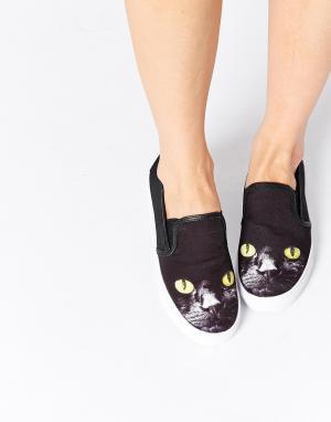 YRU Кеды-слипоны Chill Kitty. Цвет: черный