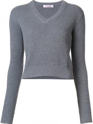 Укороченный свитер с V-образным вырезом Organic By John Patrick. Цвет: серый