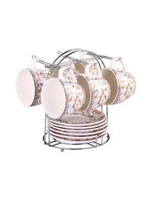 Набор чайный 12 предметов 240 мл. на металлической подставке PATRICIA. Цвет: белый
