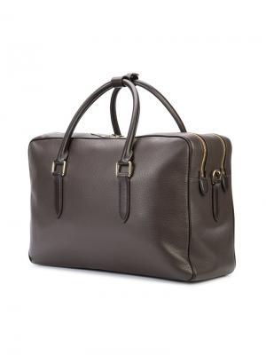 Объемная сумка с логотипом Smythson. Цвет: чёрный