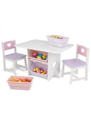 Набор детской мебели Heart KidKraft. Цвет: сиреневый, белый, розовый