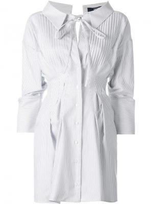 Платье-рубашка с присборенными деталями Jacquemus. Цвет: белый