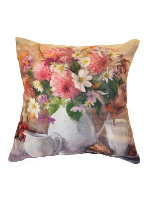 Подушка декоративная, принт НАТЮРМОРТ Dorothy's Нome. Цвет: розовый, белый, зеленый
