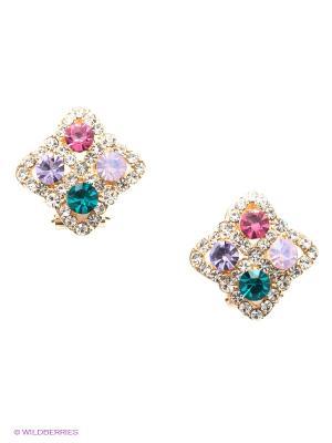 Серьги Lovely Jewelry. Цвет: золотистый, зеленый, сиреневый